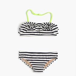 Girls' ruffle bikini set in sailor stripes