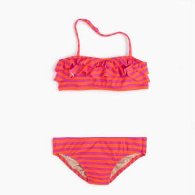 Girls' ruffle bikini set in sailor stripes
