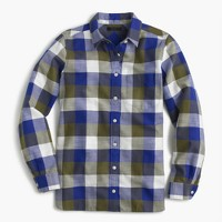 Shrunken boy shirt in moss plaid