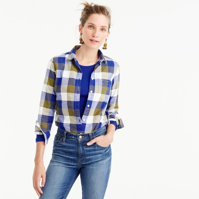 Petite shrunken boy shirt in moss plaid