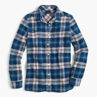 Shrunken boy shirt in coral blue plaid