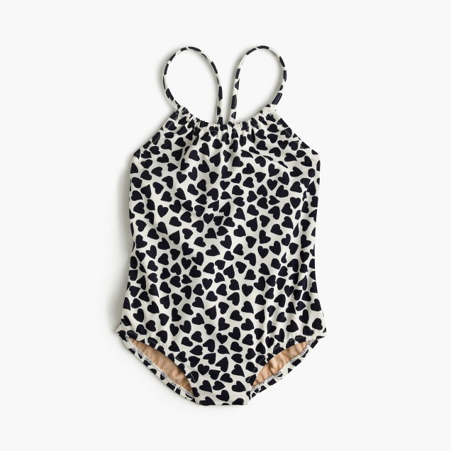 Girls' one-piece swimsuit in hearts