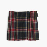 Girls' pleated skirt in tartan wool flannel