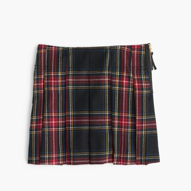 Girls' pleated skirt in tartan wool flannel