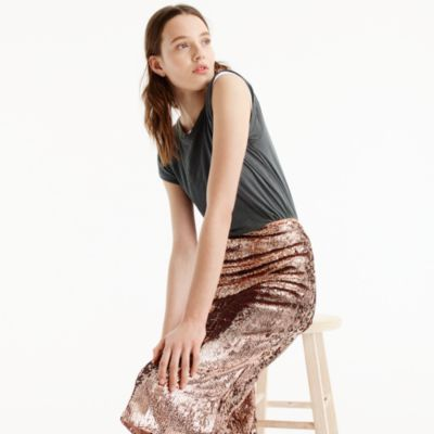 Rose-gold sequin skirt