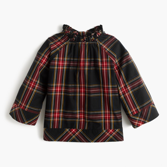 Girls' ruffle-neck top in Stewart plaid
