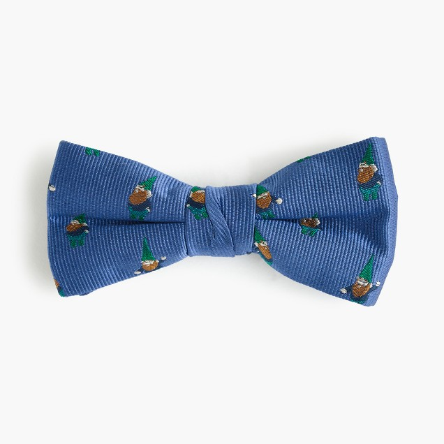 Boys' critter silk bow tie in gnomes