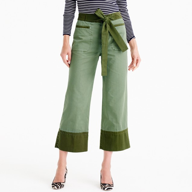 Cropped two-tone chino pant with tie