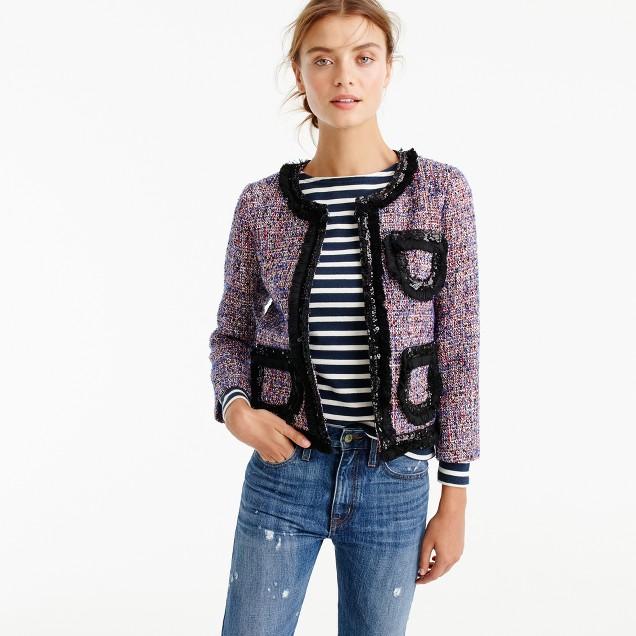 Tweed lady jacket with sparkly trim