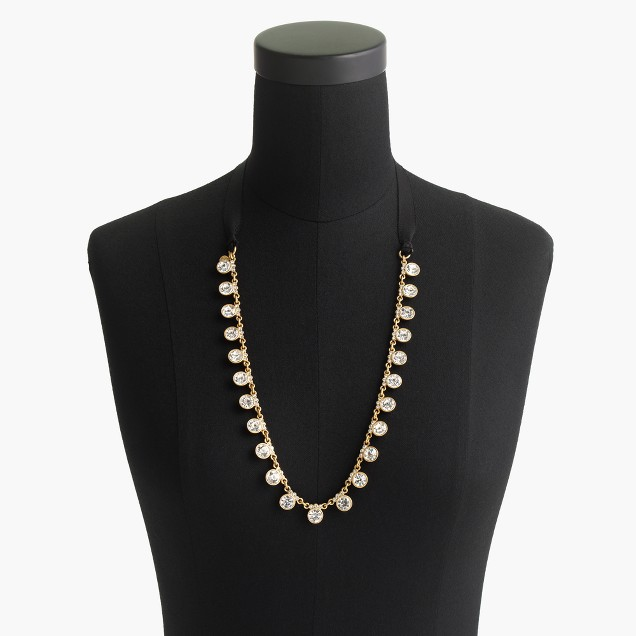 Crystal grosgrain necklace