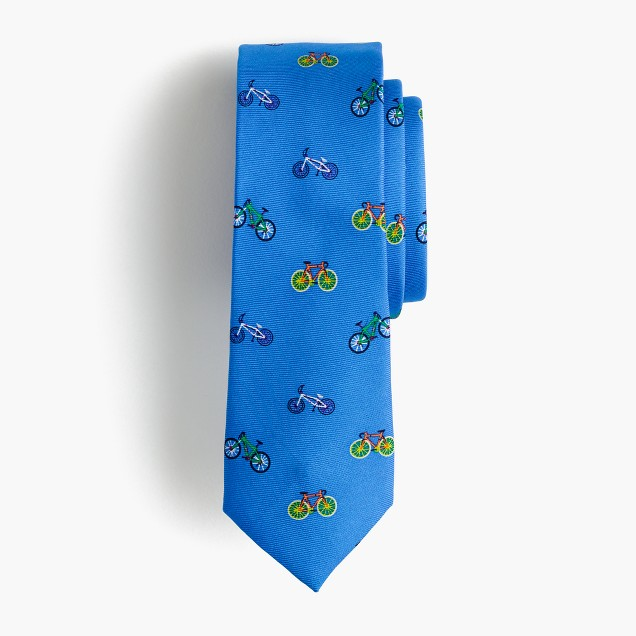 Boys' critter silk tie in bicycles