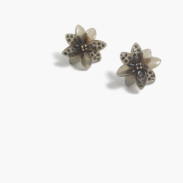 Floral burst pavé earrings
