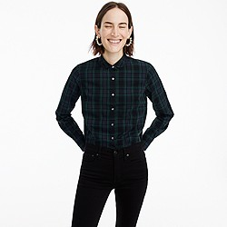 Petite club-collar perfect shirt in Black Watch plaid