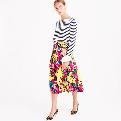 Collection pleated midi skirt in Ratti acid rose print