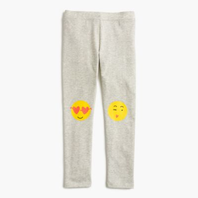 Girls' everyday leggings with emoji knee patches