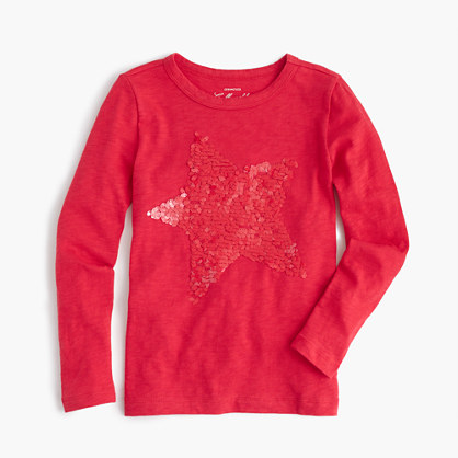 Girls' shimmering star T-shirt