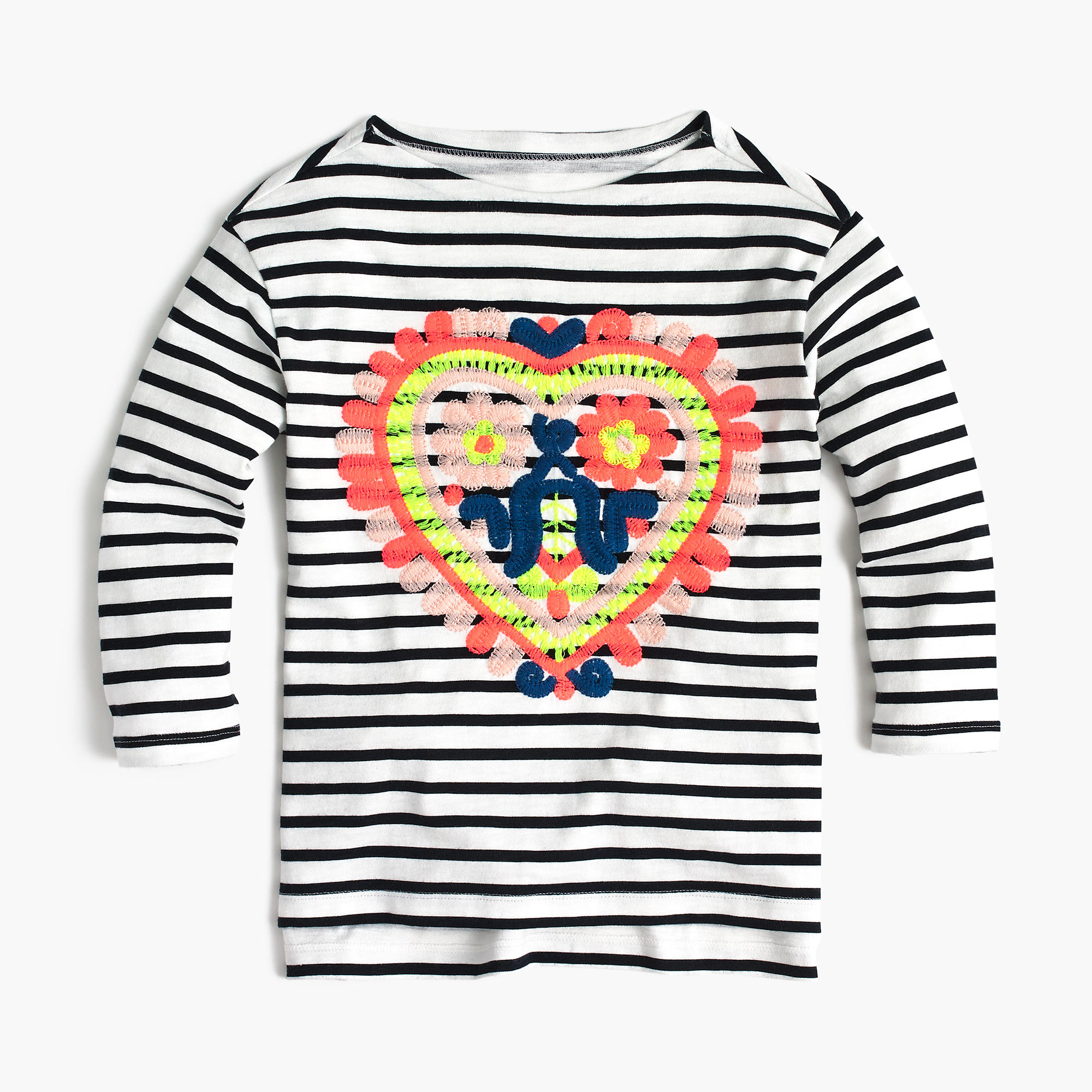 Girls striped t shirt with embroidered heart