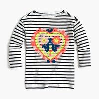 Girls' striped T-shirt with embroidered heart