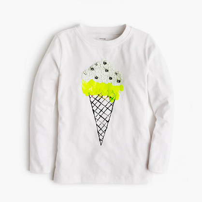 Girls' sequin ice cream T-shirt