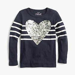 Pre-order Girls' striped sequin heart T-shirt