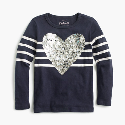 Girls' striped sequin heart T-shirt