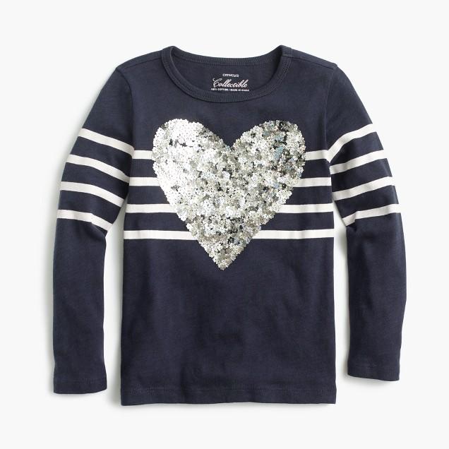 Girls' striped sequin heart T-shirt