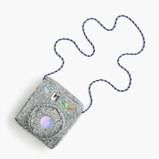 Girls' glitter camera bag