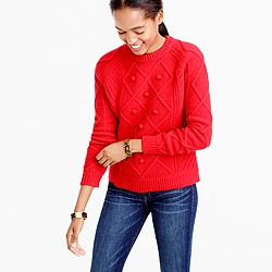 Cable pom-pom sweater in merino wool