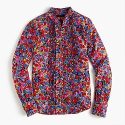 Ruffle silk top in blurred floral print