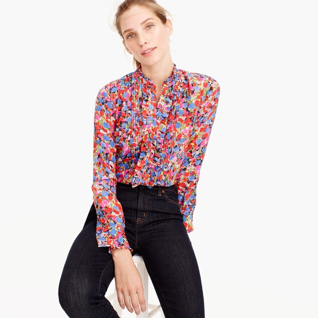 Tall ruffle silk top in blurred floral print