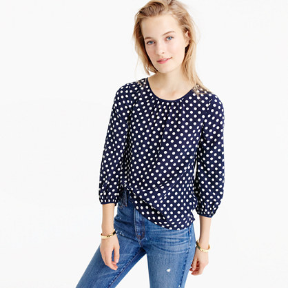 Tall silk top in polka dot