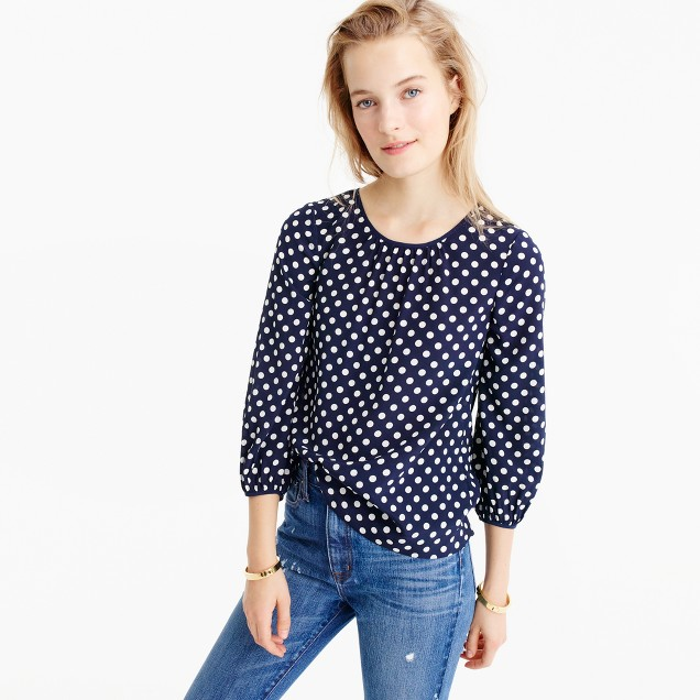 Petite silk top in polka dot