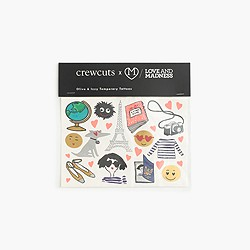 Kids' crewcuts x Love and Madness Olive and Izzy temporary tattoos