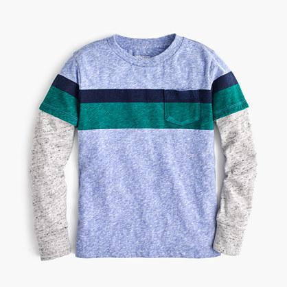 Boys' long-sleeve striped jersey T-shirt