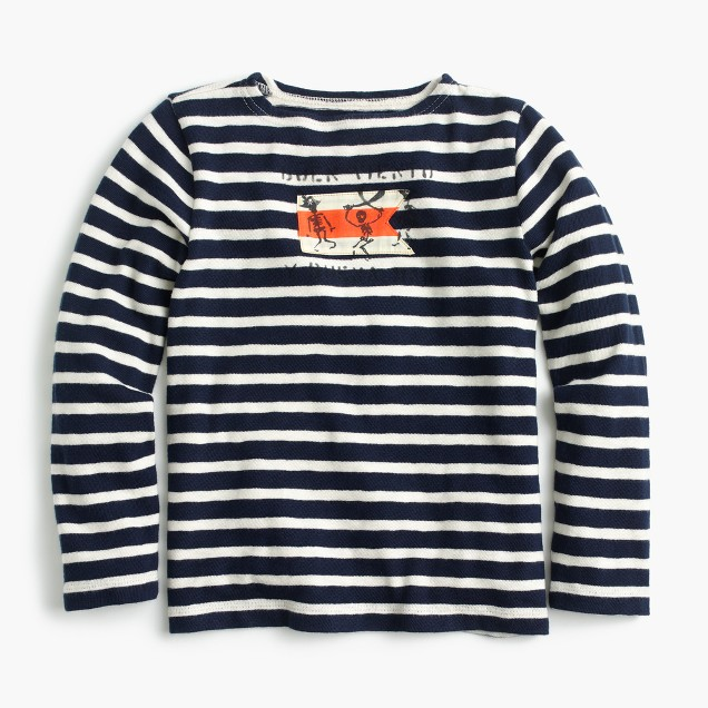 Boys' long-sleeved pirate striped T-shirt in heavy weight slub