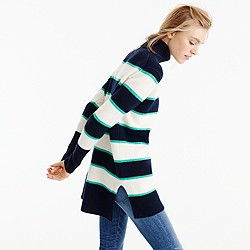Striped turtleneck in wool-cashmere