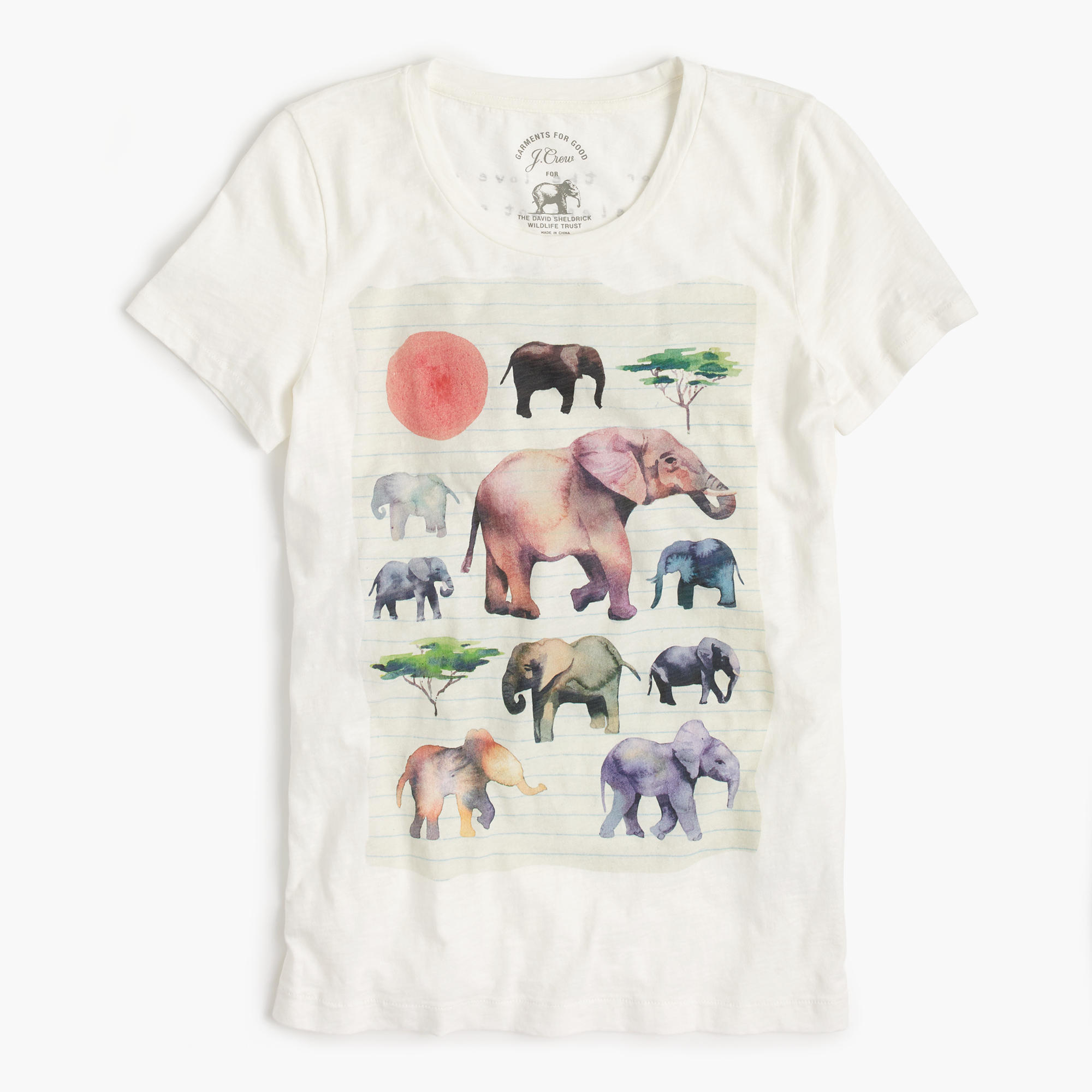 J crew for david sheldrick wildlife trust elephant t shirt for Elephant t shirt women s