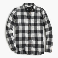 Boy shirt in charcoal buffalo plaid