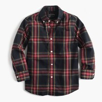 Kids' long-sleeve shirt in Stewart plaid