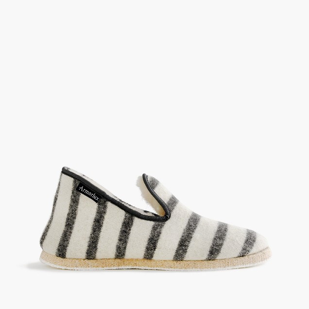 Armor-Lux® French wool slippers in grey stripe