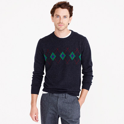 Italian cashmere crewneck sweater in argyle