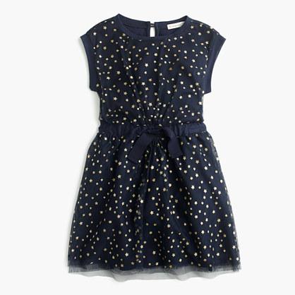 Girls' tulle-overlay dress in celestial print
