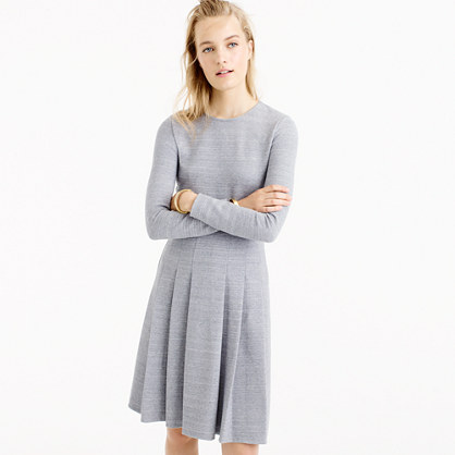 Tall pleated heathered ponte dress