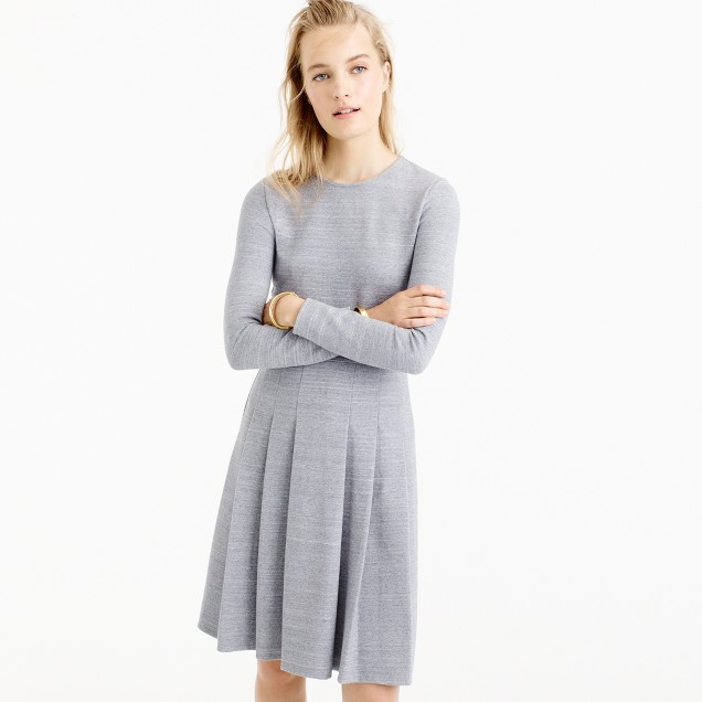 Pleated heathered ponte dress
