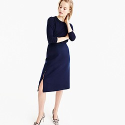 Collection button skirt in double-faced cashmere