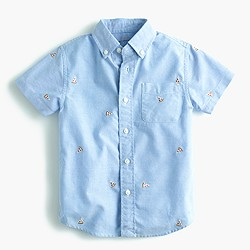 Pre-order Kids' critter oxford cotton shirt in pizza
