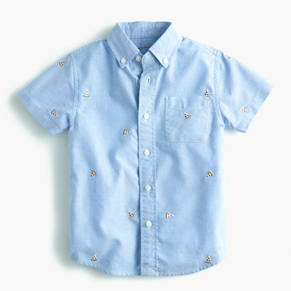 Kids' critter oxford cotton shirt in pizza