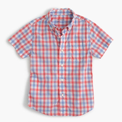 Kids' short-sleeve Secret Wash shirt in colorful gingham