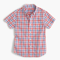 Kids' short-sleeve Secret Wash shirt in colorful gingham