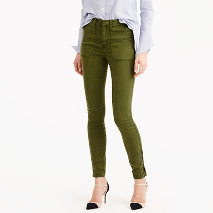 Petite skinny stretch cargo pant with zippers